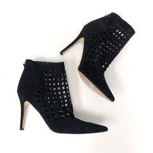 ALDO | Black Suede Cutout Heeled Ankle Boots SZ 9